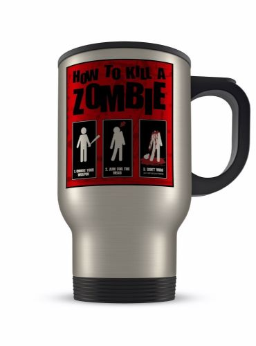 14oz How To Kill A Zombie Funny Novelty Gift Aluminium Travel Mug